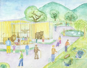 Drawing of people visiting animals at the zoo