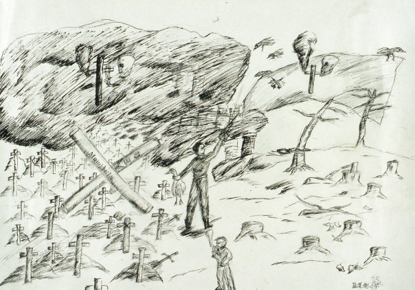 Drawing showing smoking as a promoter of death - rows of graves, skulls of death, and ravens