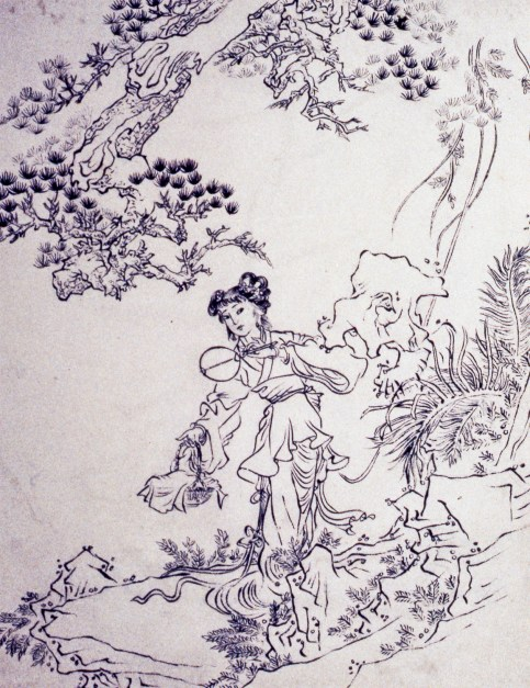 Image of Chinese lady in the mountains - perhaps on a picnic