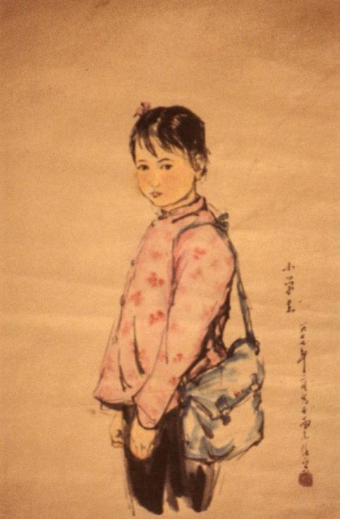 Painting of a Chinese schoolgirl with her schoolbag