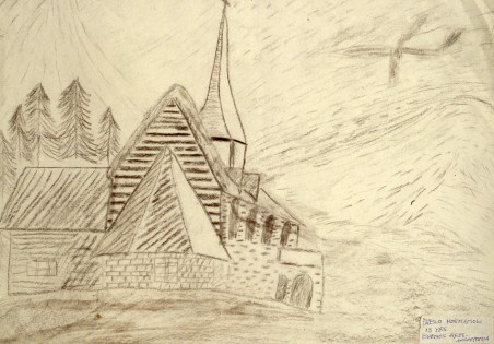 Pencil drawing of a large church in the countryside