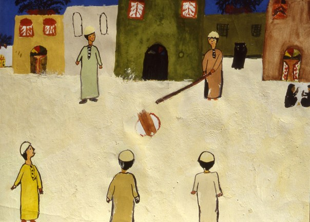 Painting of Bahraini men playing traditional ball game
