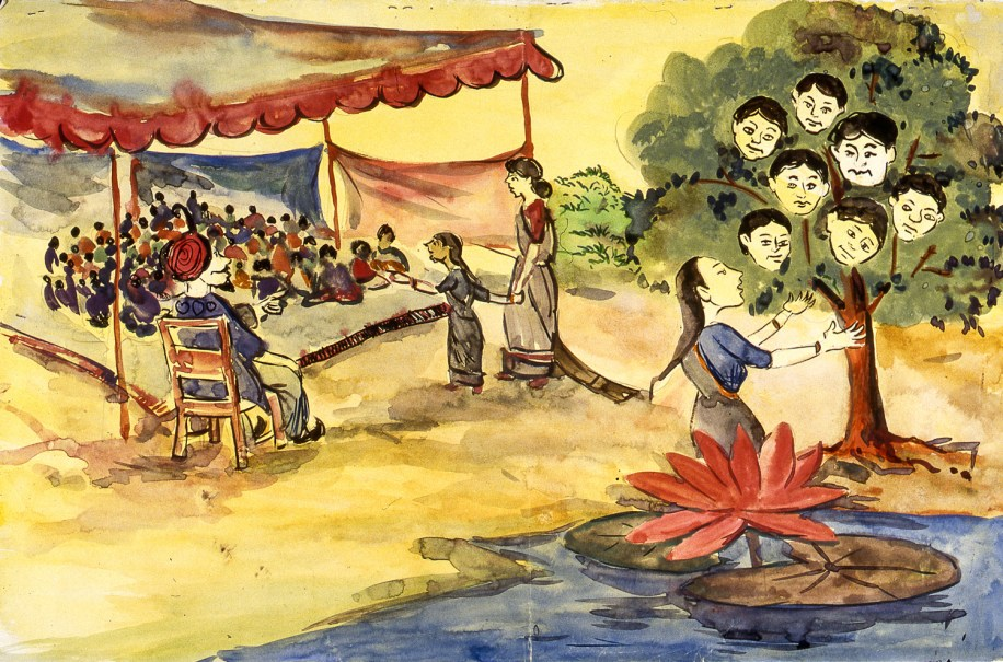 Villagers at waterside being taught a folk tale