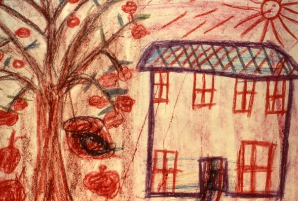 Drawing of an apple tree outside a home