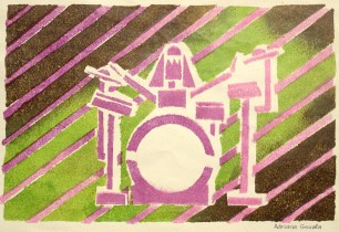 Abstract image of drummer at his drum set