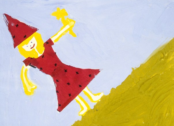 Child's drawing of a fairy godmother holding a wand