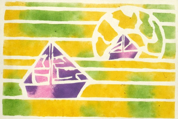 Abstract drawing of a sea with two boats