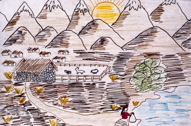 Drawinmg showing a remote village at the foot of a large mountain range