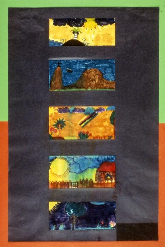 Single composition showing five distinct landscape interpretations