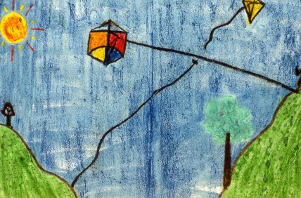 Drawing of a kite flying in the air