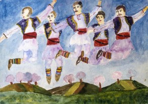 Image of five Bulgarian male dancers kicking heels in the air