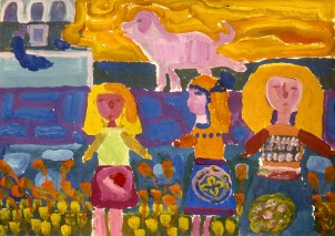 Painting of three women in a farmyard