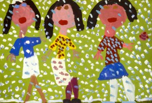 Drawing showing three women walking with snow flakes falling