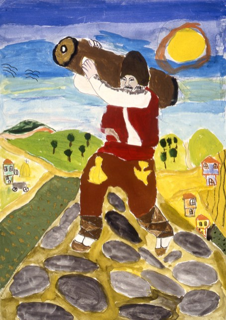 Illustration of Paul Bunyan-like giant walking over a countryside with a huge log