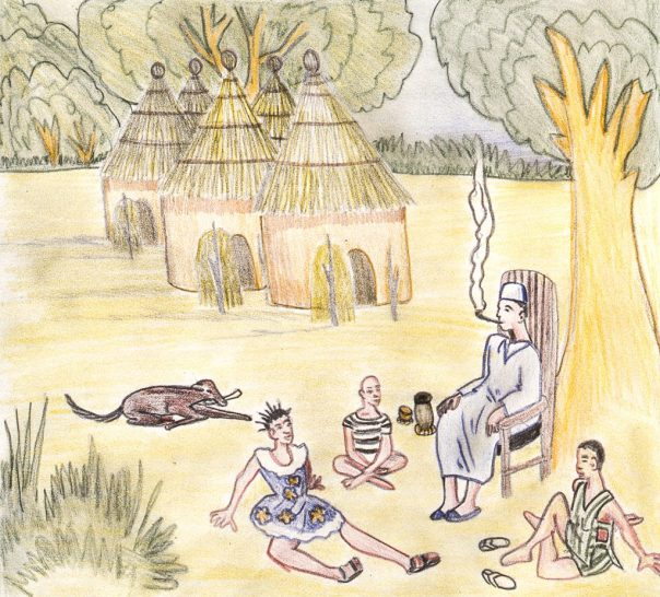 Drawing showing an elder with two young people in their village