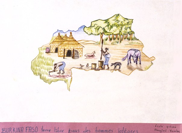 Outline of borders of Burkino Faso with typical village scene depicted