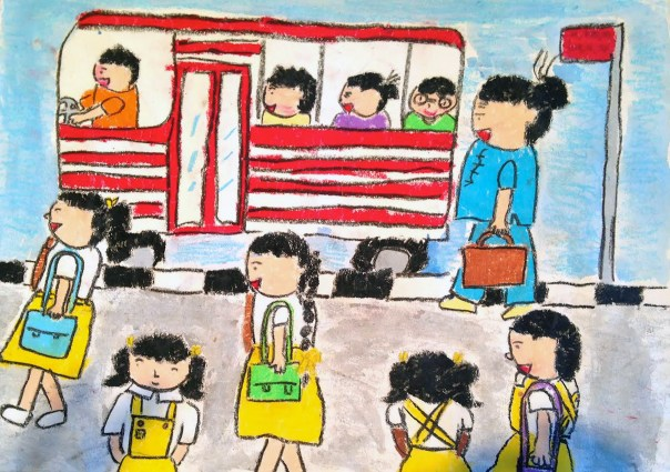 Drawing of children riding bus and walking to school
