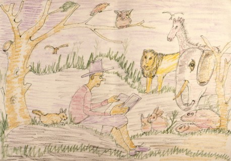 Child's crayon drawing showing seated man reading to animals