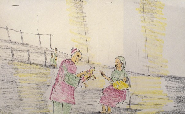 Child's crayon drawing shows villager giving gift tlo newborn and his mother