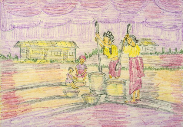 Crayon drawing of village life in Nigeria