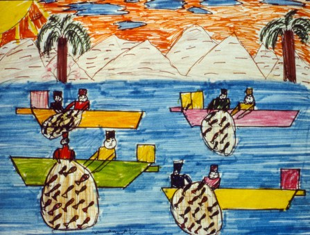 Marker drawing showing Omani fishermen with their nets full of fish