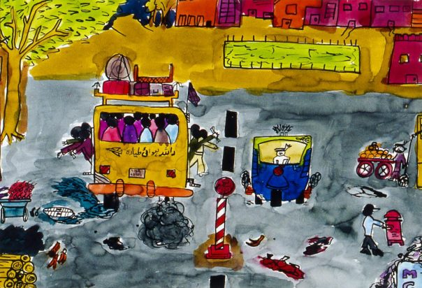 Child's painting showing a crowded bus on a city street