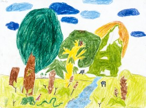 Crayon drawing of trees alongside a stream