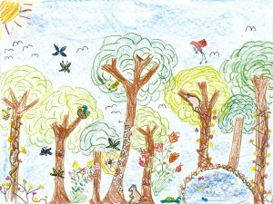 Crayon drawing of a forest in New Guinea