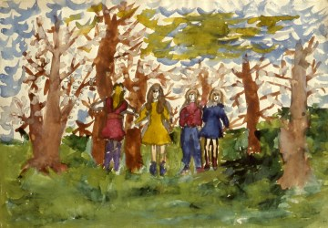 Child's watercolor of 4 women in a park