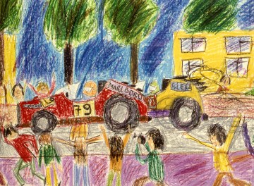 Child's drawing of a car race