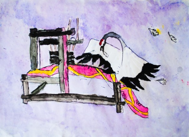 Crane Weaves Feathers Into Cloth