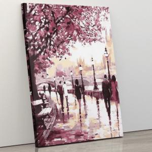 Cherry blossom tree by sidewalk