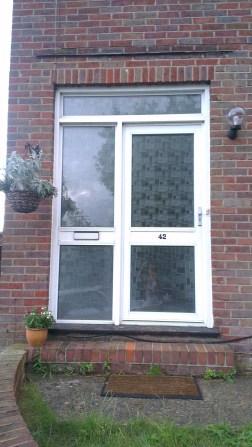 Old glass aluminium front door - before