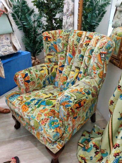Upholstered patterned chair