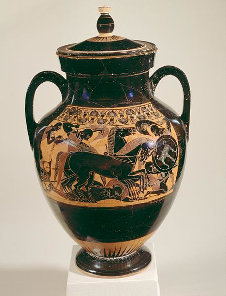 Psykter_amphora_Chalkidian_black-figure_ware_attributed_to_the_inscriptions_painter_Side_A_Achilles_dismounts_chariot_to_kill_Eurymachus_Ba000024