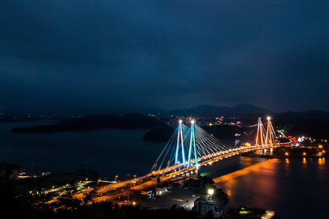 Travel Nature South Korea Sea Jindo Bridge Beach