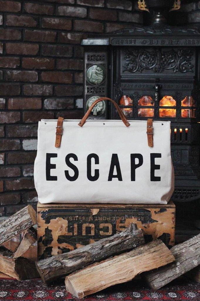 White ESCAPE Canvas Bag  Painted Fox Home