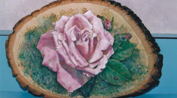 Pink Rose on Slice of Wood