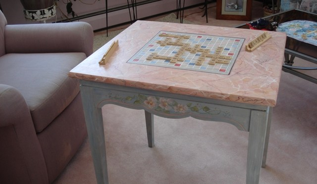 Table with Scrabble-like Game Board and Faux Marble