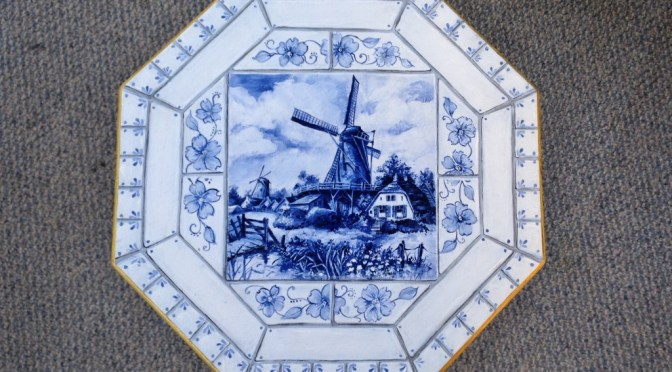 Pedestal Table With Faux Delft Tile