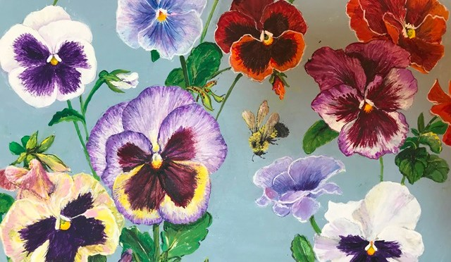 Pansy Platter Pair