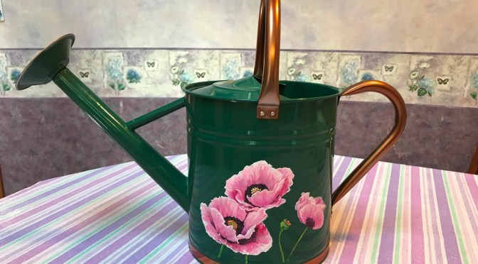 Pink Poppies on Forest Green Watering Can