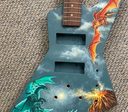 Dragon Battle on a Bass Guitar