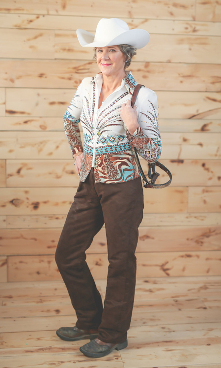 Laura Martin poses with show halter