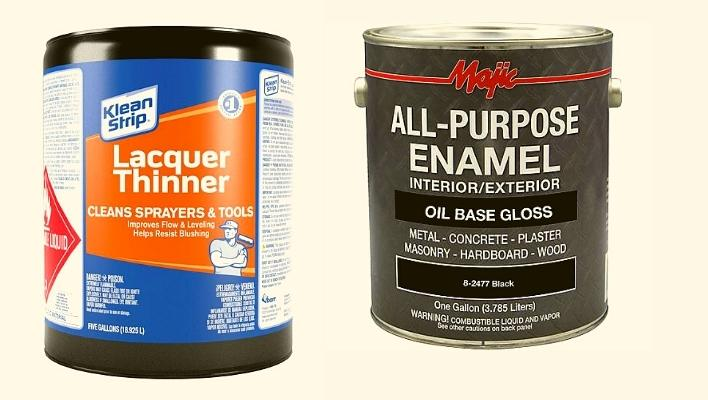 Lacquer thinner for enamel paint