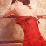 Женщина в красном (по мотивам)_холст,масло,45х60,Прохорова Анна
