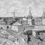 Каменец-Подольская крепость,бумага,карандаш,20х30,2017 г.Олег М.Караваев
