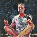 Купить картину-Живопись-Картины.Реализация.Живопись-Медитация в полнолуние, картон, масло, 34х25. Георгий Делиев