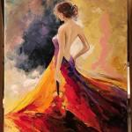 Что важно в платье-это женщина,которая его носит_Ив Сен-Лоран, холст, масло, 40х50, Анна Прохорова