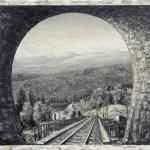 Яремче, камінь Довбуша, вид з тунелю,1936 р._Петро Грицюк